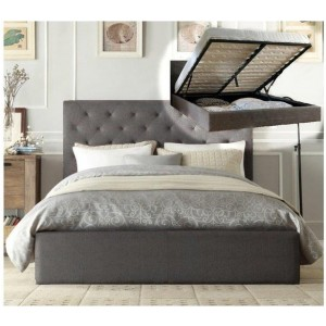 Istyle Chester Double Gas Lift Ottoman Storage Bed Frame Fabric Charcoal