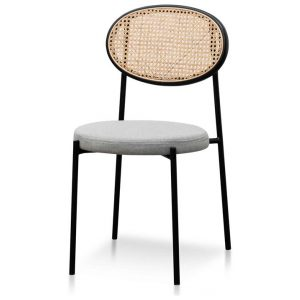 Lesley Grey Fabric Natural Rattan Dining Chair - Black by Interior Secrets - AfterPay Available