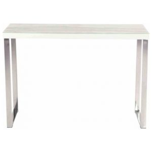 Lucas Rectangular Console Hall Table - Chrome Frame - Tempered Glass Top - Calacatta Marble