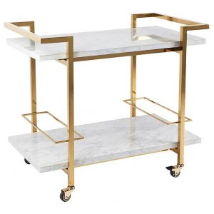 Franklin Drinks Trolley, White/Gold