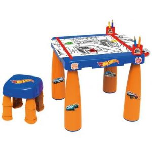 Hot Wheels Big 43cm Colouring Table/Desk w/Stool/3m Graphics Paper Roll Kids 3y+