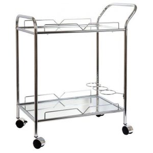 Martin Silver Mirrored Rectangular Bar Cart Drinks Trolley