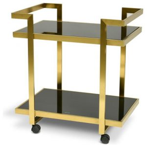 Walter Bar Cart - Tempered Glass - Gold Base by Interior Secrets - AfterPay Available
