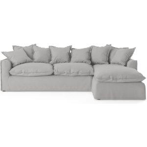 Palermo 3 Seater Modular Sofa with Chaise Cloud Grey Right Chaise