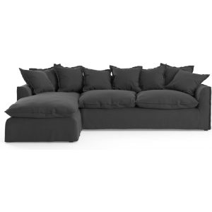 Palermo 3 Seater Modular Sofa with Chaise Night Black Left Chaise