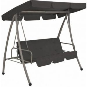 45072 Outdoor Swing Bench with Canopy Anthracite 192x118x175 cm Steel