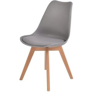Set of 2 Retro Replica PU Leather Dining Chair Office Cafe Chairs Grey