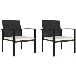 2x Garden Dining Chairs Poly Rattan Black Outdoor Patio Terrace Seating