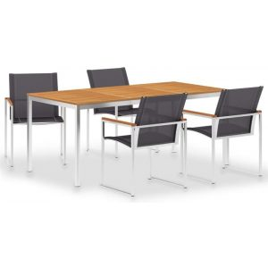 5 Piece Dining Set Textilene and Stainless Steel