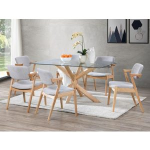 Bella Dining Sets | Hardwood Table & Chairs | Glass Top | 7 Pieces | Shop Online or Instore | B2C Furniture