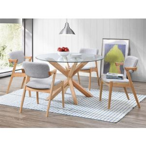 Bella Round Dining Sets | Hardwood Table & Chairs | Glass Top | 5 Pieces | Shop Online or Instore | B2C Furniture