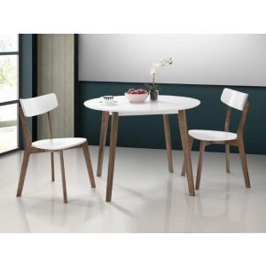 Claire Round Dining Table | Dark Hardwood Frame | White Top | Shop Online or Instore | B2C Furniture