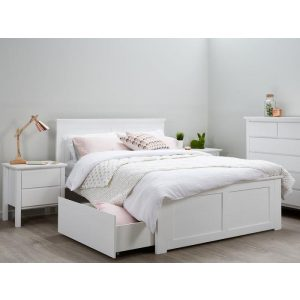 Coco Hardwood White Double Size Bed Frame with Storage | Shop Online or Instore | B2C Furniture