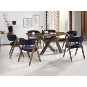Gaudi Dining Sets | Rustic Hardwood Table & Blue Chairs | 7 Pieces | Shop Online or Instore | B2C Furniture