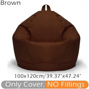 100*120CM Stylish Cloth Bean Bag Sofa Cover Lounger Chair Sofa Seat Living Room Furniture Without Filler Beanbag Couch Cotton Chair Cover Only Cover(No Filling)(brown)