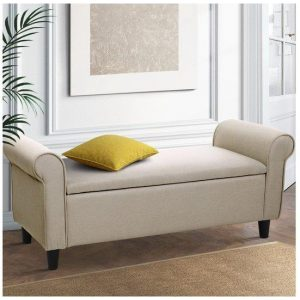 Artiss Storage Ottoman Blanket Box Linen Fabric Arm Foot Stool Couch Chest Large