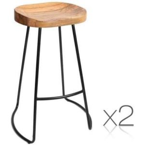 Set of 2 Industrial Rustic Retro Steel Kitchen Bar Stools With Wooden Seat Natural