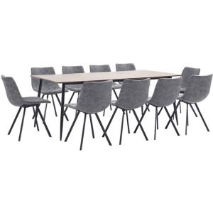 11 Piece Dining Set Grey Faux Leather
