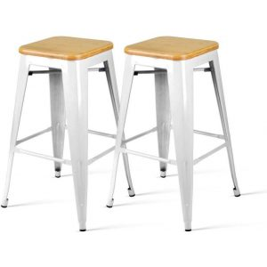 2x Bar Stools / Dining Chairs White Metal Frame, Bamboo Seat for Cafe Home