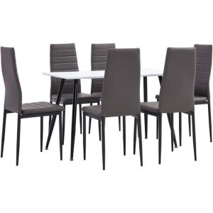 7 Piece Dining Set Faux Leather Grey