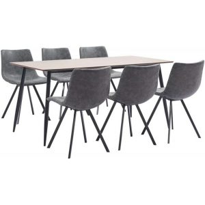 7 Piece Dining Set Grey Faux Leather