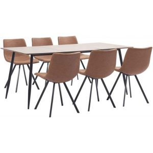 7 Piece Dining Set Medium Brown Faux Leather
