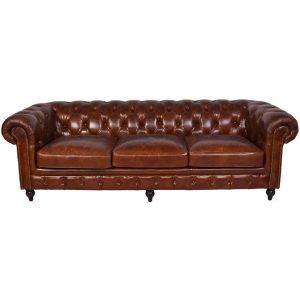 Lord Stanhope 4 Seater Cowhide Leather Sofa MDF Brown Alliance Furniture