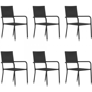 Outdoor Dining Chairs 6 pcs Poly Rattan Black