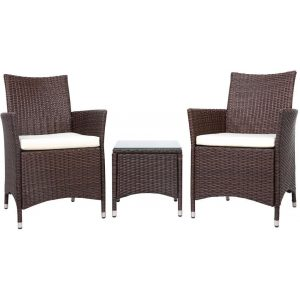 Outdoor Furniture Set 3 Piece Patio Chair & Table Wicker - Brown