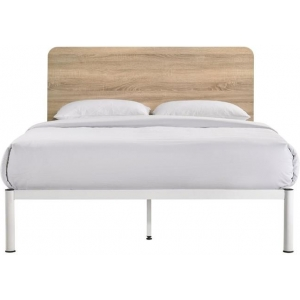 Chesca Bed Frame Modern White Metal & Wood Double