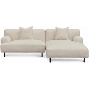 Jasleen Right Chaise Sofa - Ivory White Boucle by Interior Secrets - AfterPay Available