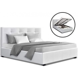 Artiss Lisa Bed Frame PU Leather Gas Lift Storage - White Double