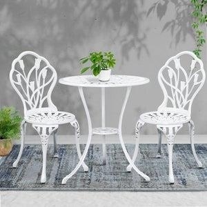 Outdoor Setting 3 Piece Bistro Chairs Table Set Cast Aluminum Patio