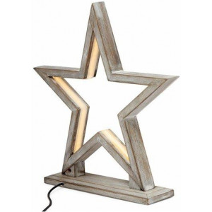 33cm Bamboo Star Led Table Lamp - Antique Timber