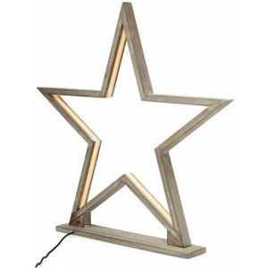 52cm Bamboo Star Led Table Lamp - Antique Timber
