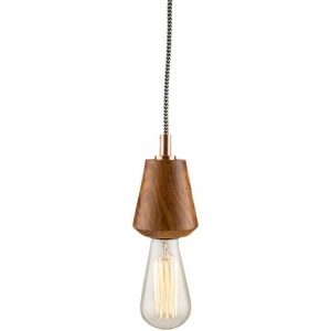 Tapered Wooden Pendant Light Natural & Silver EM Casa Uno