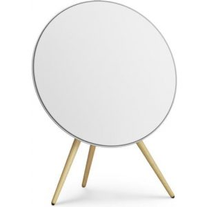 Bang & Olufsen Beoplay A9 4th Gen. GVA Wireless Speaker with White cover, Oak Legs and Natural Aluminium Ring